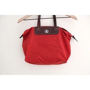 • DOONEY & BOURKE RED CANVAS TOTE SHOULDER BAG •